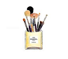 Makeup Brush Holder in Perfume Bottle, ART Print from Watercolor Painting, Coco No 5 Number 5 Parfum Yellow Fashion Illustration Poster