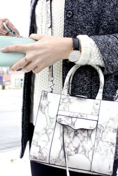 Rebecca Minkoff marble M.A.B. mini tote, Daniel Wellington watch, mint coach wallet, Sheinside coat