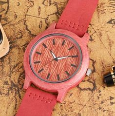 HandKrafted Pink Wooden Watch With Leather Belt. Product ID-KT058 Price- 3990. COD Available ( With Free Shipping Within India ) World wide Shipping Available.
