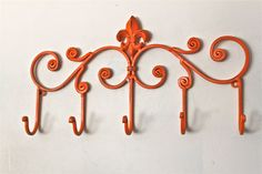 Iron Wall Hook, Bright Orange by Aqua Xpressions eclectic hooks and hangers