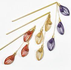 水引のかんざし 〜花筏〜 (受注制作) Japanese New Year, Minne, Tassel Necklace, Knots, Drop Earrings, Beads, Bracelets, Crafts, Accessories