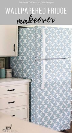Wallpapered Fridge Makeover! Click here for more pictures and a tutorial!
