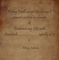 Today I will accept the things I cannot control or change & Embrace my Life with Gratitude ...................... exactly as it is.