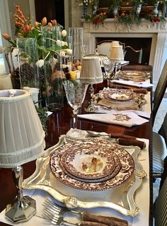 Mini silver lamps, new planters and more! - The Enchanted Home Elegant Table Settings, Beautiful Table Settings, Fall Table, Thanksgiving Table, Spode Woodland, Silver Lamp, Enchanted Home, Table Arrangements, Decoration Table
