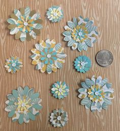 "5 Handmade 2"" Paper Flowers With 5 Handmade 1"" Paper Flowers to Match - 10 Count Pack by cemFLORAL on Etsy"