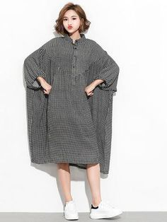 Super Loose Plaid Long Shirt Dress Style Loose , Plus Size Feature Plaid Occasion Going out ,... Casual Dress Outfits, Fashion Outfits, Iranian Women Fashion, Long Shirt Dress, Long Blouse, Blouse Models, Plaid, Plus Size Casual, Abaya Fashion