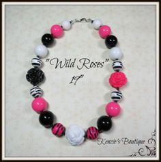 """Wild Roses"" Chunky Beaded Necklace, Photo Prop, Child, Adult"