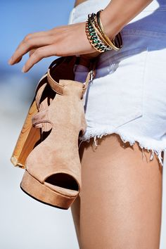 Peep toe suede heels.