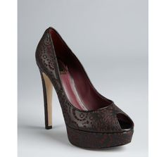 Christian Dior bordeaux and black laser cut leather 'Miss Dior' platform peep toe pumps