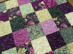 Plum Green Quilted Table Topper Floral by PatsPassionQuilteds