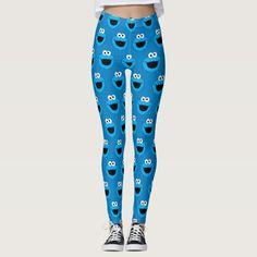 Smiling Cookie Monster Pattern Leggings, Women's, Size: M Pale Blue / Cornflower Blue / Deep Sky Blue Cute Leggings, Best Leggings, Printed Leggings, Women's Leggings, Fun Cookies, Cookie Monster Party, Monster Face, Sesame Street Birthday