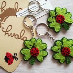 Four leaf clover keychain with small Ladybug - fortune charm This is a perfect good luck gift for anyone. This listing is for 1 keychain - clover with ladybug Good luck charm. Cute ladybug on clover felt keychain. Handmade be me from 100% wool felt Medium sized keychain - diameter of