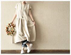 Yuanma  Women  Loose  linen Short  Sleeved Long  Dress