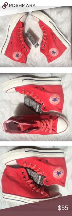 Converse womens red lux red shoes wedge Converse womens brand new shoes without box. 100% authentic. Hidden platform. Ships same day or very next. If you have any questions feel free to ask me. ✨ Converse Shoes Sneakers