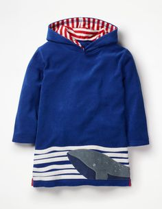 305869ff63 Towelling Throw-On - Duke Blue Whale Appliqué | Boden UK