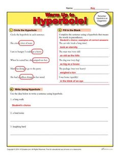 What is a hyperbole? A hyperbole is a type of figurative language defined as a dramatic exaggeration. Many writers use hyperboles to emphasize a particular detail of a character, setting, or situation. Idioms Activities, 4th Grade Activities, Middle School Activities, Language Activities, Reading Activities, 6th Grade Ela, Teaching 5th Grade, Third Grade, Figurative Language Activity
