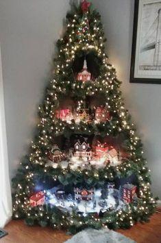 Christmas Tree Village Display, Corner Christmas Tree, Creative Christmas Trees, Wooden Christmas Trees, Christmas Tree Themes, Christmas Villages, Christmas Home, Christmas Tree Decorations, Christmas Crafts