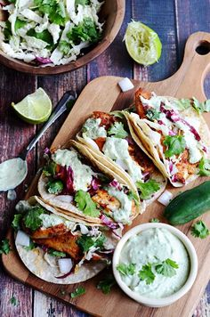 Blackened Fish Tacos with Avocado-Cilantro Sauce. Blackened Fish Tacos with Avocado-Cilantro Sauce. Fish Recipes, Seafood Recipes, Mexican Food Recipes, Dinner Recipes, Cooking Recipes, Healthy Recipes, Best Fish Taco Recipe, Recipies, Fish Taco Coleslaw Recipe