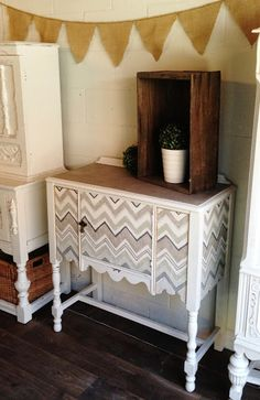Chevron Fabric Buffet Tutorial