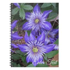 Blue Clematis Flowers Notebook - floral style flower flowers stylish diy personalize