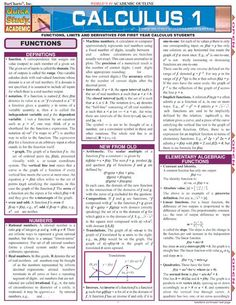 Calculus 1 Quick Review Guide. This 6 page QuickStudy guide includes everything the first year calculus student needs to gain a strong understanding of the basic calculus concepts.