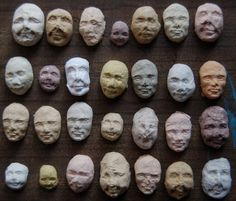 Funny seed faces - little heads made from recycled paper pulp.