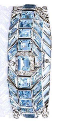 An Art Deco Aquamarine and Diamond Bracelet, circa 1935. #men'sjewelry