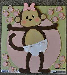 Pin the Binky on the Monkey Baby Shower Game girl or boy Very popular. $9.99, via Etsy.