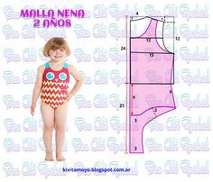 KiVita MoYo: TRAJE DE BAÑO NIÑA 2 AÑOS Baby Dress Tutorials, Baby Girl Dress Patterns, Dress Sewing Patterns, Baby Patterns, Clothing Patterns, Diy Barbie Clothes, Sewing Kids Clothes, Sewing For Kids, Diy Clothes