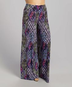 45ee704f2da Purple Abstract Palazzo Pants - Plus  zulilyfinds