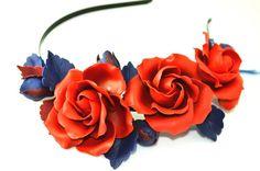 Red roses headband