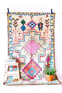"Vintage Moroccan Boucherouite Ourika Rug, ""The Imogen"", Colorful Rug."