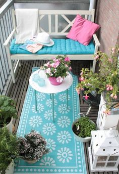 Textil colorido para balcones pequeños