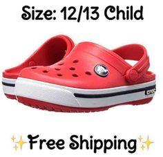 8f0ad7750591 ⭐NEW⭐CROCS Crocband Red Navy Clog 12 13 Child