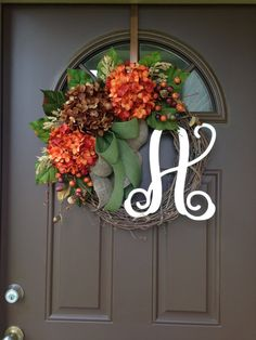 Fall Wreaths for Front Door - Fall Wreaths -Hydrangea Wreath - Door Wreaths with…