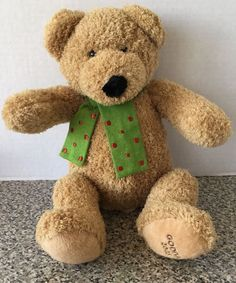 "Godiva Chocolate 2005 Teddy Bear Plush Brown 10"" Stuffed Animal Green Scarf #Godiva"