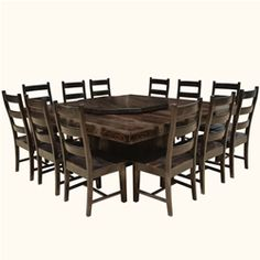 Modern Pioneer Solid Wood Lazy Susan Pedestal Dining Table U0026 Chair Set Great Pictures