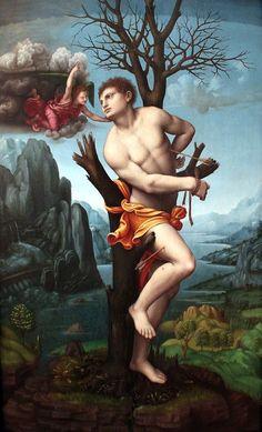 Tomado de FB: ARTE GAY   Marco d'Oggiono (Milan, 1467-1524), Saint Sebastian, 1520. Gemäldegalerie der Staatliche Museen zu Berlin.