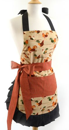 Old Fashioned Aprons, Oven Mitts and Gloves for Sale: Flirty Aprons Women's Original Rooster $34.95 #apron #vintage #retro