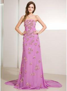 A-Line/Princess Strapless Watteau Train Chiffon Prom Dress With Ruffle Beading Sequins