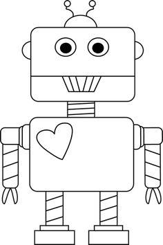 Black and White Valentine's Day Robot