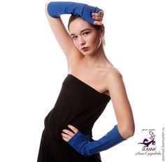 Купить Перчатки без пальцев, митенки, рукава Ярко-Синие из итальянского трико - синий, митенки
