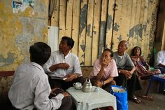 An afternoon tea setting on one of the sidewalk tea stalls in Yangon, Myanmar (Burma)