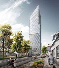 schmidt hammer lassen proposes ambitious urban redevelopment and tower in norway