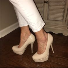 Nude platform pumps size 8 Great condition- reposhing bc they don't fit me well, gorgeous nude pumps size 8. Worn only a few times with no signs of wear Glaze Shoes Heels