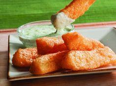 Yucca fries with cilantro garlic sauce // Pollo Tropical copycat recipe