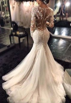 2017 Mermaid Wedding DressLace Beaded  Sexy Bridal Gowns