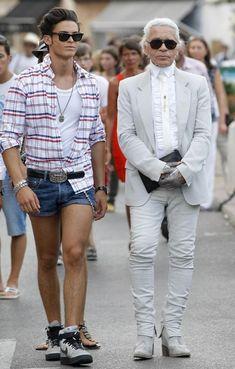Fashion designer Karl Lagerfeld and boytoy Babtiste Giabiconi