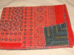 Ajrakh Block Print Kantha Patchwork Kantha Quilt Hand Block Print Fabric Indigo  #Handmade