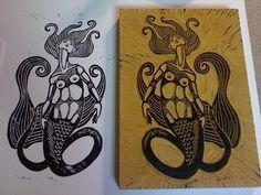 Mermaid Linocut
